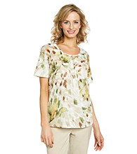 Alfred Dunner® Pleated Neckline Printed Top