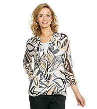 Alfred Dunner® Point Collar Front Button Up Layered-Look Shirt