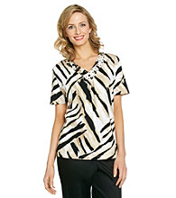 Alfred Dunner® V-Neckline Animal Print Top