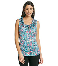Notations® Scoop Neckline Ruffled Tank