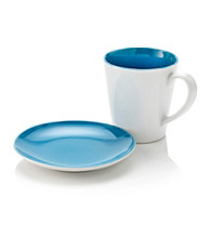 LivingQuarters Whiteware Fashion Mug and Plate