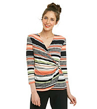 Calvin Klein Faux Wrap Printed Top