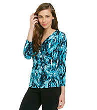 Calvin Klein Printed Faux-Wrap Top