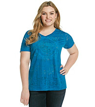 Ruff Hewn Plus Size V-Neck Burnout Screen Tee