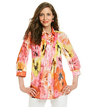 Fever™ Floral Patterened Pleated Blouse With Cami