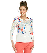 Rafaella® Multi-Colored Floral Print Cardigan