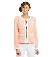 Fever™ Textured Boucle Zip-Front Jacket