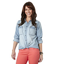 Democracy Hi-Lo Chambray Top