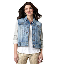 Democracy Denim Jacket with Knit Sleeves