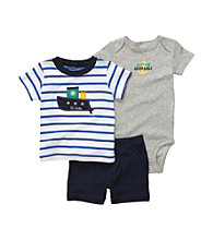 Carter's® Baby Boys' Navy 3-pc. Tugboat Shorts Set