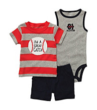 Carter's® Baby Boys' Red/Grey 3-pc. Baseball Shorts Set