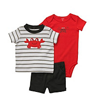 Carter's® Baby Boys' Gray/Red 3-pc. Crab Shorts Set