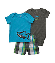 Carter's® Baby Boys' Turquoise 3-pc. Shark Shorts Set