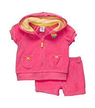 Carter's® Baby Girls' Bright Pink Short Sleeve Cardigan and Shorts Set
