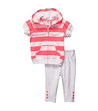 Carter's® Baby Girls' White/Pink Striped Short Sleeve Cardigan Set