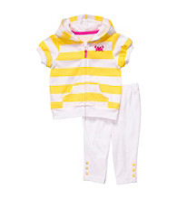 Carter's® Baby Girls' White/Yellow Striped Short Sleeve Cardigan Set