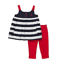 Carter's® Baby Girls' Red/Navy Sleeveless Swing Top and Leggings Set