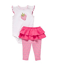 Carter's® Baby Girls' Pink/White Ruffle Sleeve Strawberry Tutu Set