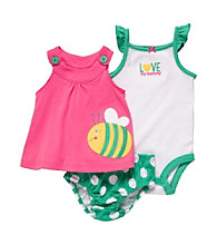 Carter's® Baby Girls' Pink/Green Sleeveless Bee Swing Top Set