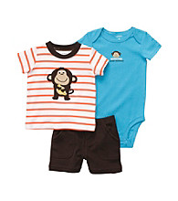 Carter's® Baby Boys' Orange/Brown 3-pc. Monkey Shorts Set