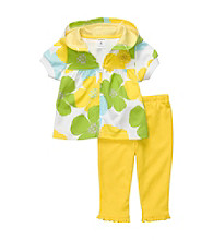 Carter's® Baby Girls' Yellow Short Sleeve Hooded Floral Cardigan Set