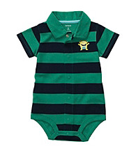 Carter's® Baby Boys' Green/Navy Striped Polo Creeper