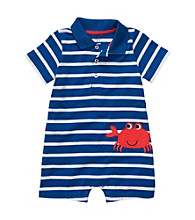 Carter's® Baby Boys' Blue Striped Short Sleeve Crab Romper