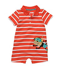 Carter's® Baby Boys' Orange Striped Short Sleeve Scuba Monkey Romper