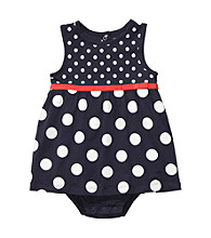 Carter's® Baby Girls' Navy/White Sleeveless Polka-Dot Sunsuit