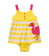 Carter's® Baby Girls' Yellow/White Striped Sleeveless Flamingo Sunsuit