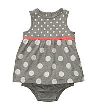 Carter's® Baby Girls' Grey/White Sleeveless Polka-Dot Sunsuit