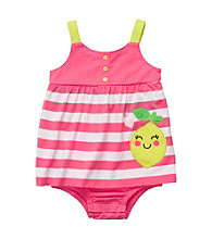 Carter's® Baby Girls' Pink/White Striped Sleeveless Lemon Sunsuit