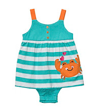 Carter's® Baby Girls' Turquoise/White Striped Sleeveless Crab Sunsuit