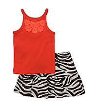 Carter's® Baby Girls' Orange Tank with Zebra Print Skort Set