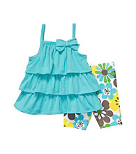 Carter's® Baby Girls' Turquoise Floral Tiered Tank and Biker Shorts Set
