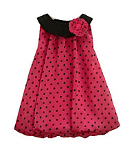 Baby Essentials® Baby Girls' Pink/Black Dot Bubble Romper