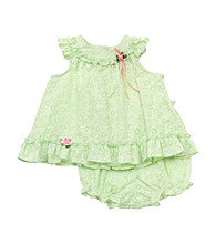 Rare Editions® Baby Girls' Green 2-pc. Floral Eyelet Popover Set