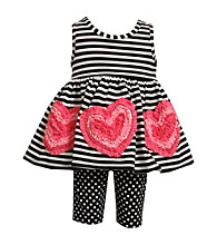 Bonnie Jean® Baby Girls' Black/White 2-pc. Striped Heart Applique Set