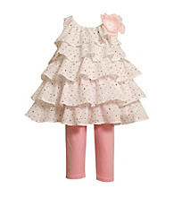 Bonnie Jean® Baby Girls' White/Pink 2-pc. Tiered Eyelet Leggings Set