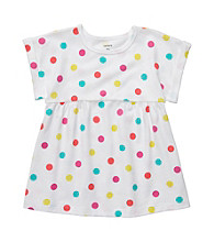 Carter's® Baby Girls' White Short Sleeve Multi Dot Swing Top