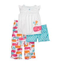 Carter's® Girls' 12M-14 White 3-pc. Whale Pajama Set