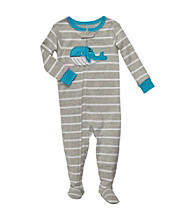 Carter's® Baby Boys' Grey Striped Whale Footie Pajamas
