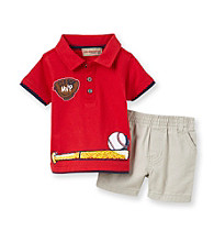 Kids Headquarters® Baby Boys' Red 2-pc. Baseball Polo Shorts Set