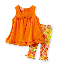 Kids Headquarters® Baby Girls' Orange 2-pc. Bow Tunic and Leggings Set
