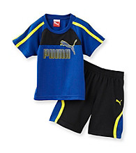 PUMA® Baby Boys' Blue/Black Logo Shorts Set