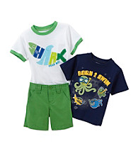 Nannette® Baby Boys' Green 3-pc. Born to Swim Shark Set