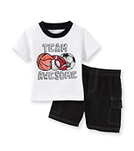 Kids Headquarters® Baby Boys' White/Black 2-pc. Team Awesome Shorts Set