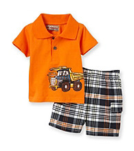 Kids Headquarters® Baby Boys' Orange 2-pc. Truck Polo Shorts Set