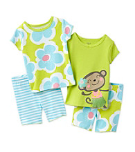 Carter's® Girls' 12M-7 Green/Blue 4-pc. Monkey Pajama Set