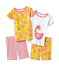 Carter's® Girls' 4-7 White/Yellow 4-pc. Flamingo Pajama Set